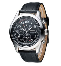 Seiko SPC133 Chronograph Perpetual Calendar Alarm Black Calf Leather Men's Watch