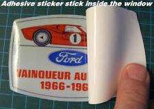VINTAGE FORD VAINQUEUR AU MANS 1966 -1967 WINDOW STICKER DECAL - FORD VS FERRARI