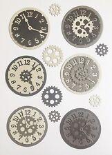 New - Steampunk Clock Die Cuts - Black/silver/grey (pack Of 6)