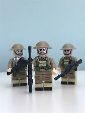 WW2 Soldier Mini Figures X3 Compatible with LEGO Studs and other building Blocks