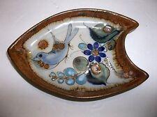 "Vintage KEN EDWARDS Mexican Folk Art  Pottery Dish BLUEBIRD Signed 7"""