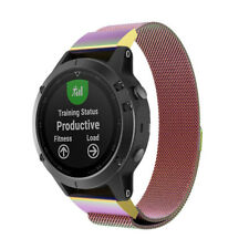 For Garmin Fenix 5 Milanese Stainless Steel Loop Watch Band Wrist Strap Colorful