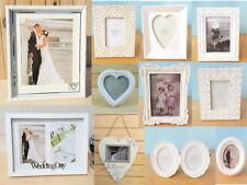 VINTAGE STYLE  WEDDING PICTURE PHOTO FRAME WHITE HEART LOVE DESIGN HOLDER ty