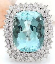 16.20CTW NATURAL AQUAMARINE AND DIAMOND RING IN 14K WHITE GOLD