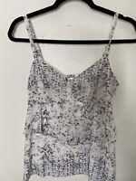 Cabi Women's Small White Print Tunic Top Sleeveless Blouse
