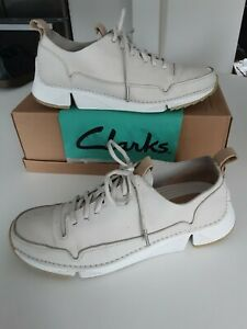 Clarks TRIGENIC 'Tri Spark' Off White  Leather Lace Up Casual Shoes size 6.5 D