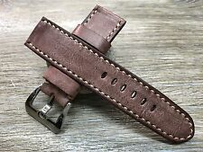 24mm straps, Handmade waxed vintage leather watch band for Panerai, 26mm