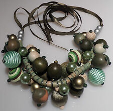 Assorted Green Mini bead Cluster Necklace