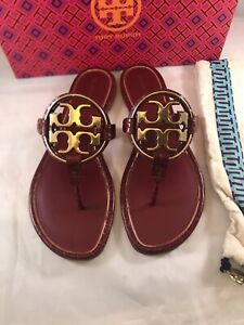 TORY BURCH MILLER METAL-LOGO ROMA RED SANDALS SIZE 10 EMBOSSED LEATHER