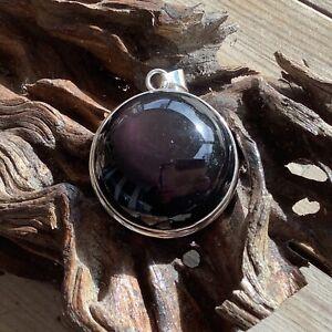 BiG Beautiful Purple Sheen Obsidian 925 Sterling Silver Pendant