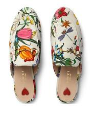 Gucci Princetown White Floral Canvas Loafer Slide Mule Slip On Slipper Flat 37.5