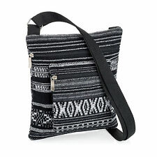 Ladies Small Black Tribal Print Bag Cross Over Adjustable Strap Shopping Zip