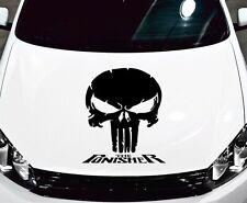 PUNISHER SKULL & WORDS CARBON FIBER CHROME SPECIALTY VINYL DECAL HOOD SIDE CAR