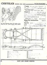 1940 Chrysler Model C25 C26 C27 NOS Frame Dimensions Align Spec