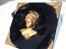 ANTIQUE BLACK AMYTHEST GLASS VICTORIAN WOMAN BUST SQUARE WALL HANGING