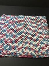 White Blue And Mauve Afghan Acrylic Very peaceful Relaxing Comfortable Feel