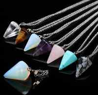 Natural Gemstone Crystal Healing Chakra Reiki Silver Stone Pendant Necklace Bead