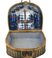 Wicker Picnic Basket Deluxe Woven Willow Vintage Hamper Set Suitcase Style New