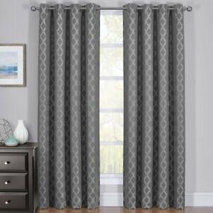 2PC Rosaline Thermal Insulated Blackout Curtain Set Jacquard Window Panels