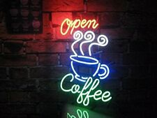 """Coffee Cafe Open 20""""x16"""" Neon Sign Lamp Light Beer Bar With Dimmer"""