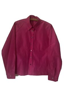 Liberty London 100% Silk Fitted Shirt Bright Pink Fuschia Size 10-12 Made Italy