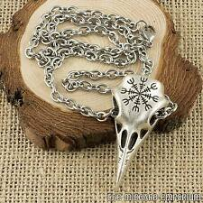 Viking Raven Skull Helm Of Awe Rune Pendant With Stainless Steel Cross Chain