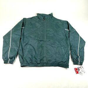 NEW Vintage Holloway Windbreaker Track Jacket Mens M Forest Green Full Zip
