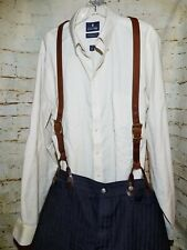 CUSTOM HANDMADE LEATHER SUSPENDERS: MADE TO ORDER: HEAVY DUTY: BUTTON END: USA