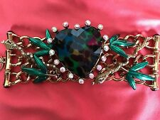 Betsey Johnson Vintage Asian Jungle HUGE Blue Green Leopard Heart Snake Bracelet