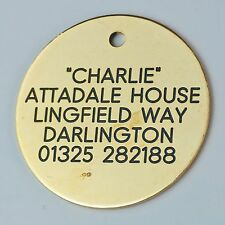 Quality Engraved Pet tag -Large 38mm circle Brass Tag