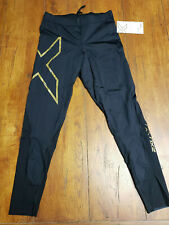 2XU Women's LT Large Tall Black Gold Tights MCS Compression Running Recovery L