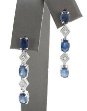 5.04 Ct Natural Blue Sapphire and Diamond in 14K Solid White Gold Stud Earrings