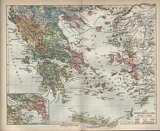 Landkarte map 1907: ALT-GRIECHENLAND. Europa Korinth Ägäis