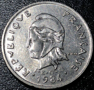 1984 French Polynesia 10 Francs (with IEOM) Rare Coin