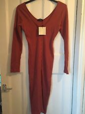 MissGuided - Long sleeve ribbed dress, Pink, Size 10, Brand new
