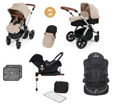 Ickle Bubba Stomp V3 Isofix Travel System (Sand on Silver) & 2nd Stage car seat