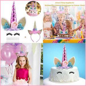 SUPER CUTE GIRL Unicorn Cake Topper Eyelashes & Headband Horn Ears Flowers Party