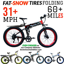 1000w 14.5Ah 48v FOLDING FAT TIRE E-Mountain Bike 31 MPH 60+ Mile Electric Ebike