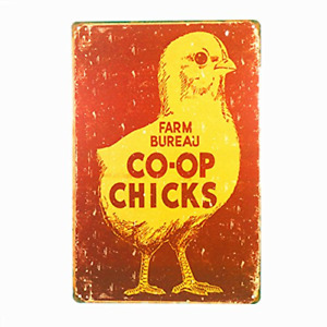 dingleiever-Farm Bureau Co-Op Chicks Metal Wall Decor Retro Vintage Tin Sign