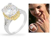 6 TCW Silver Yellow Gold Oval Halo CZ Bridal Engagement Wedding Ring Size 5-10