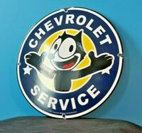 VINTAGE FELIX CAT CHEVROLET PORCELAIN GAS AUTO MOTOR TRUCKS SERVICE SIGN