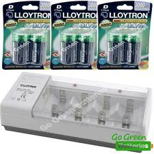 Lloytron Universal Cargador +6 Tamaño D Lr20 Pilas Recargables Aa Aaa C D 9v)