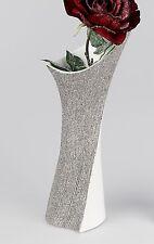 Moderne Deko Vase Blumenvase aus Keramik weiß/silber Höhe 38 cm