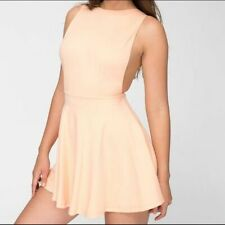 American Apparel Peach Pink Ponte Side Cleavage Cut Skater Mini Dress Large Sexy