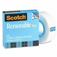 """Scotch Removable Paper Tape - 0.75"""" Width X 36 Yd Length - 1"""" Core - Removable,"""