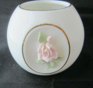 Vintage Red Rose Bud Votive Or Tea Light Glass Candle Holder Ceramic Porcelain