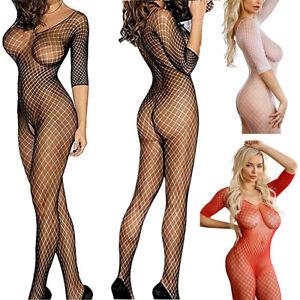 Plus Size Bodystocking Lingerie Open Crotch Fishnet Body Stocking Babydoll 6-20