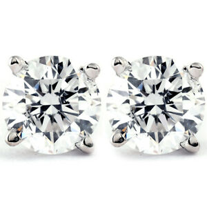 1/4 - 2 Ct T.W. Natural Diamond Studs in 14k White or Yellow Gold