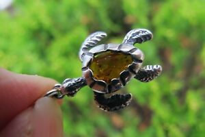 Turtle Amber Pendant Small Crystal Fossil small 925 Silver Lithuanian Healing