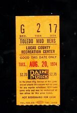 *1974 (Aug. 20) Toledo Mud Hens minor league baseball ticket stub